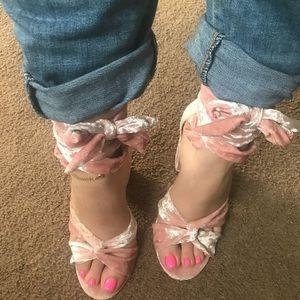 Baby pink Velour heels